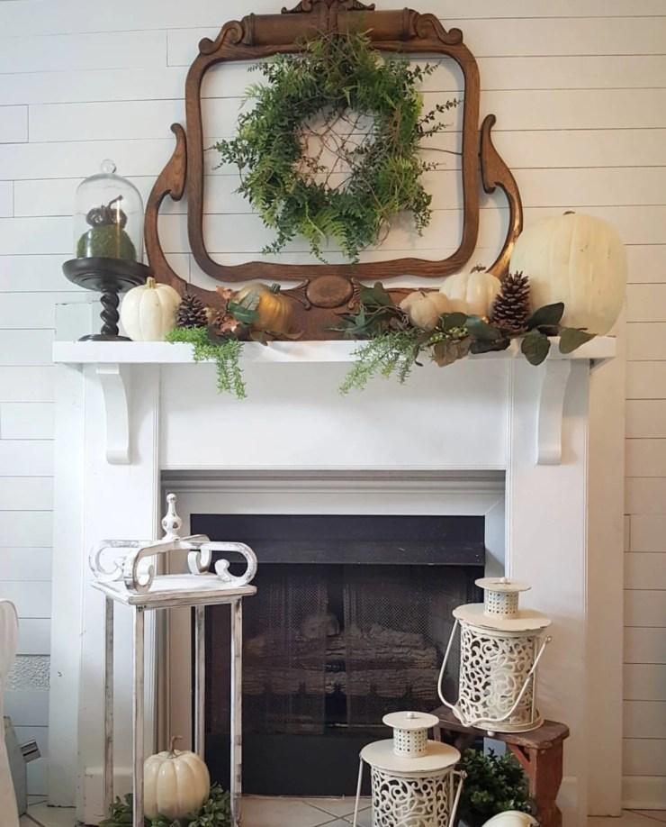 Stunning fall fireplace decor shabby chic farmhouse fall decorating ideas fall wreath shiplap