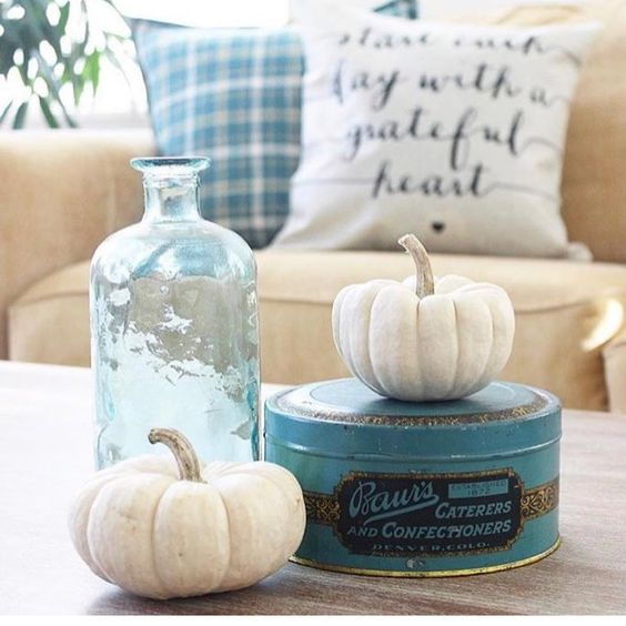 gorgeous vignette blue fall blue plaid white pumpkins farmhouse pillows