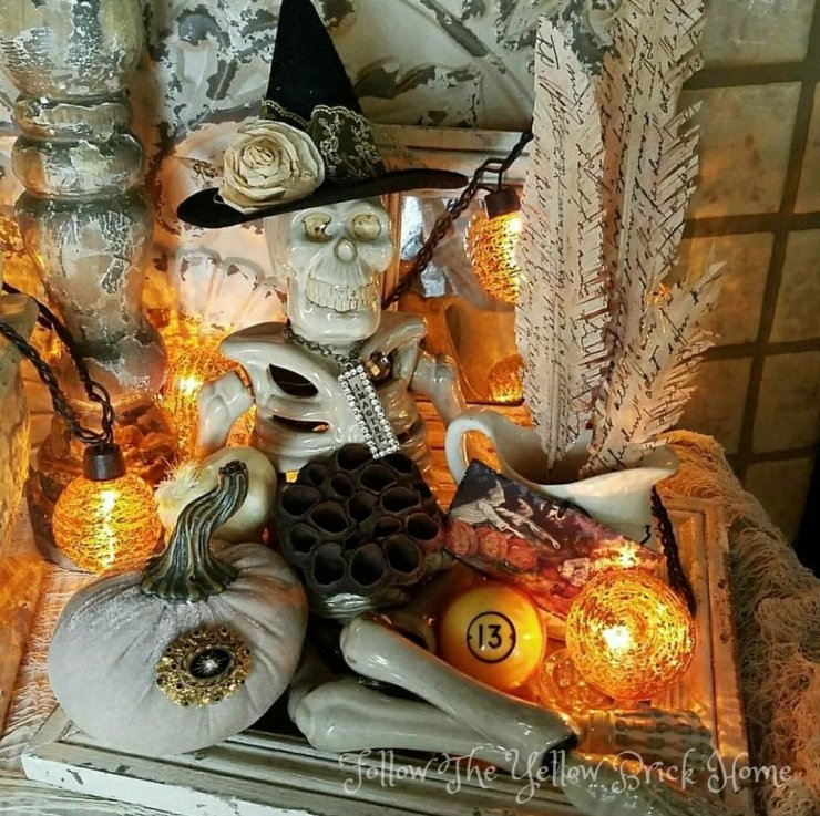 Shabby Chic Vintage Skeleton Halloween Decor