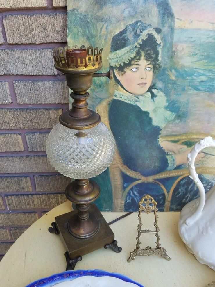 gorgeous antique lamp 1920's lamp thrift junk finds found decor