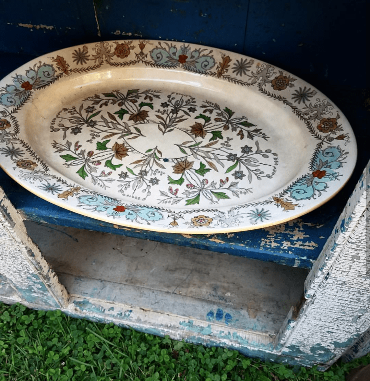 Unique and rare ironstone platter transferware