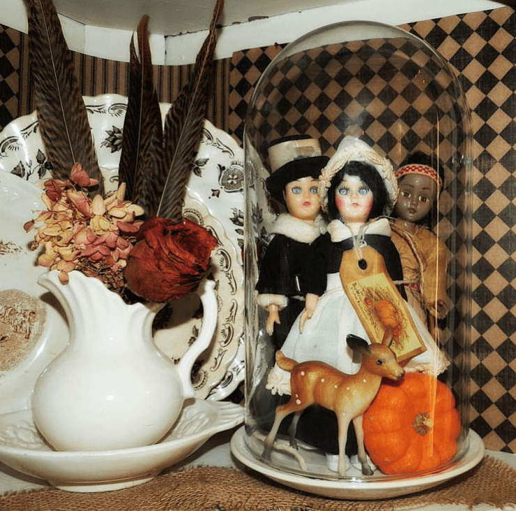 Thanksgiving Cloche Display Vintage dolls