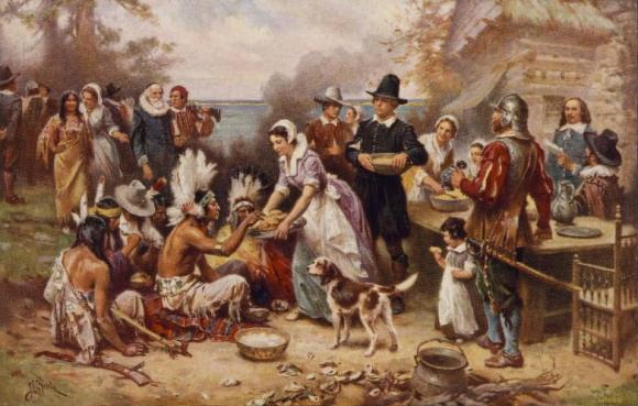 Vintage First Thanksgiving Painting