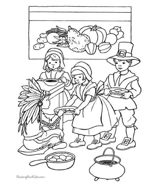 Vintage Thanksgiving Coloring Sheet