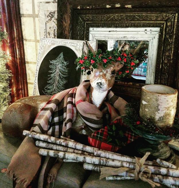 Vintage lawn deer as Christmas decor Flea Market Style