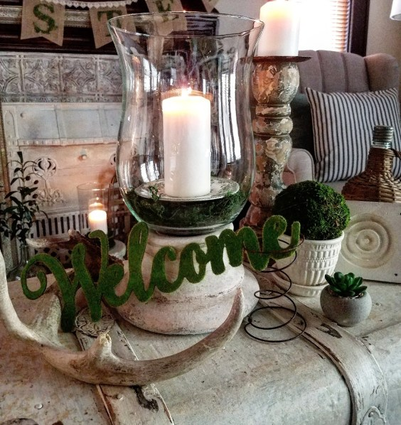 Vintage Spring Vignette Welcome Spring Rusty spring moss demijohn shabby chic cottage spring tour