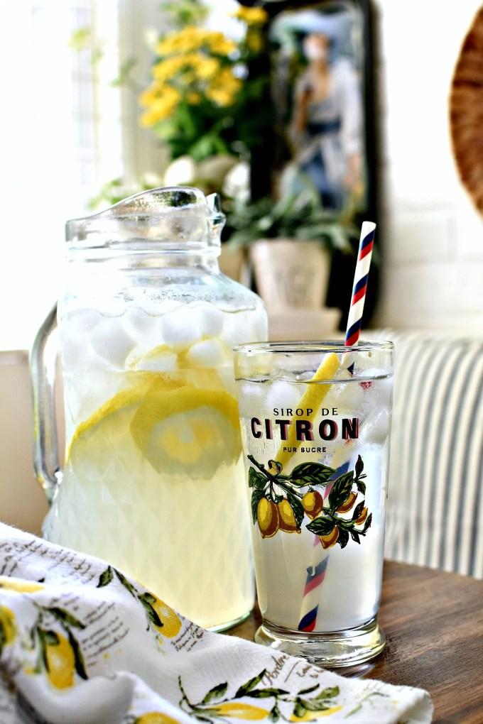 French Citron glass vintage farmhouse kitchen summer decorating ideas summer home tour lemons