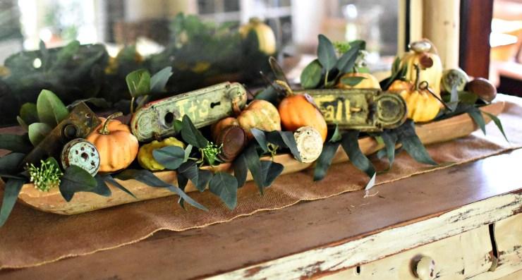 vintage hardware fall dough bowl display repurposed vintage hardware as fall decor antique farmhouse pumpkins in dough bowl with eucalyptus