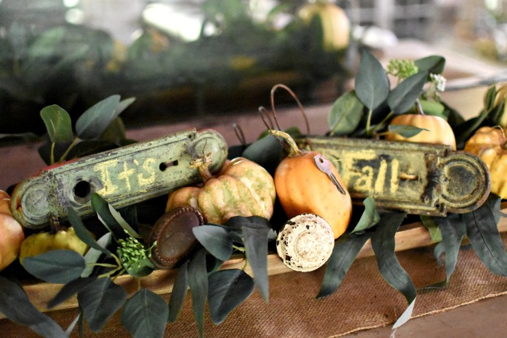 vintage cottage style fall home tour fall dough bowl display repurposed vintage hardware fall chalkboard