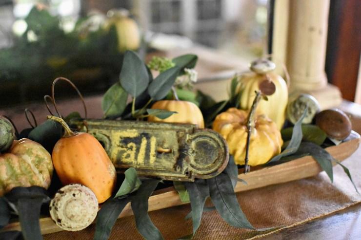 fall dough bowl ideas mini pumpkins and eucalyptus in dough bowl