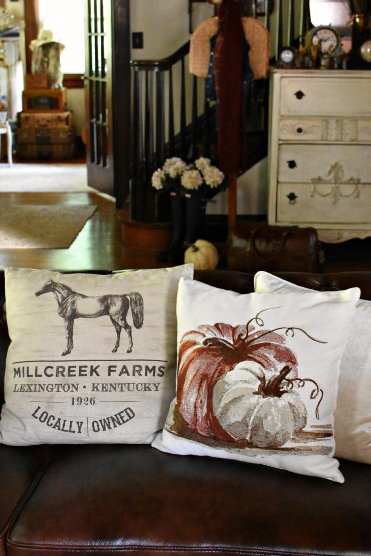 cute fall pilllows pumpkin pillow horse pillow fall home tour