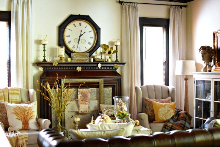 French country cottage style neutral fall living room with pops of yellow beautiful fall living room fall home tour yellow, mustard fall decor gold fall decor