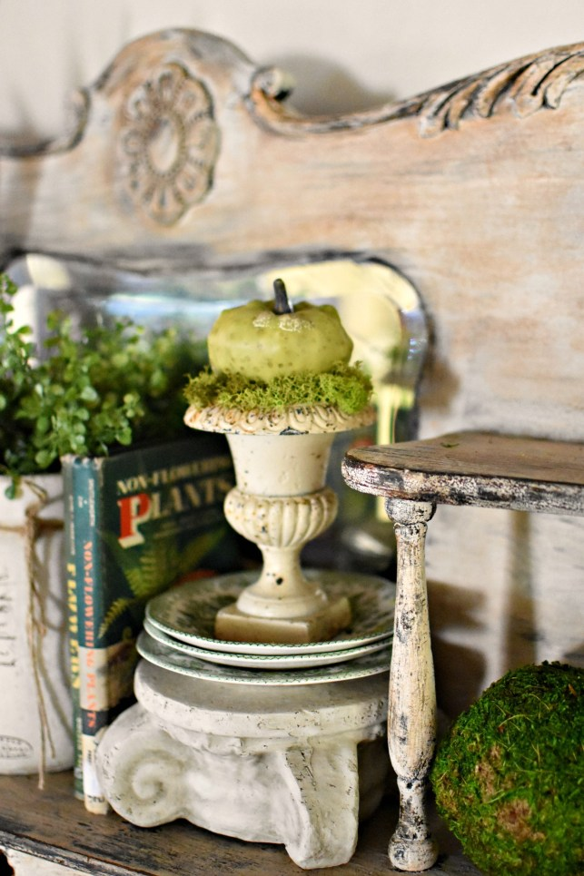 Fall decorating ideas small green pumpkin in urn with moss shabby chic vintage fall decor