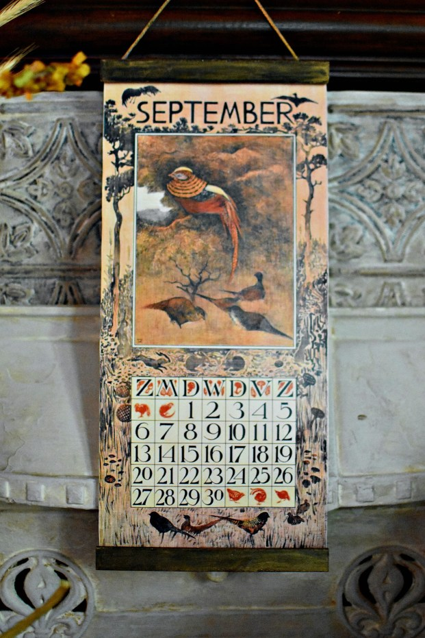 gorgeous DIY vintage calendar fall decorating ideas pheasant decor fall home tour
