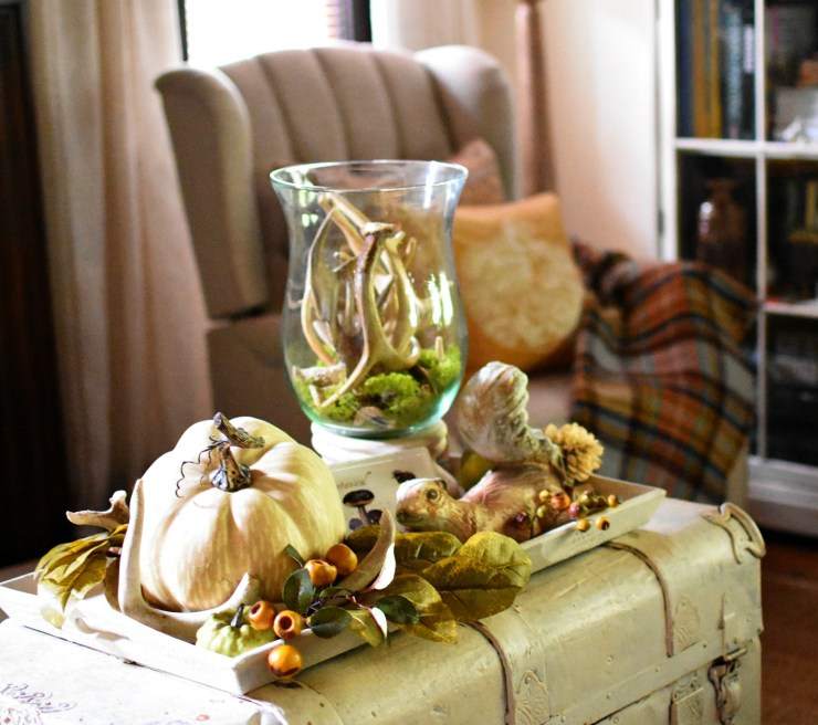 fall home tour styled tray on an antique trunk neutral fall decorating ideas natural and rustic fall decor moss antlers pumpkins