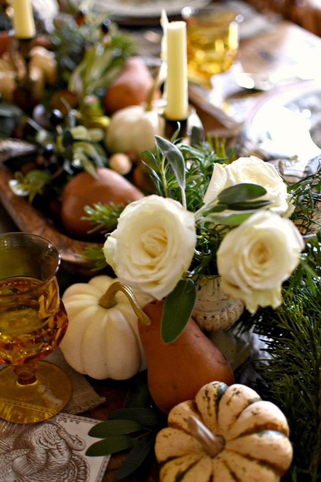Elegant Thanksgiving Tablescape with roses, fresh herbs, cedar garland, pumpkins and bosc pears