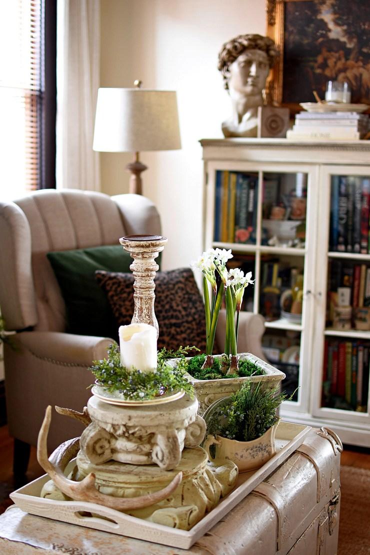 Beautiful winter decorating ideas paperwhites and blue juniper, neutral decor