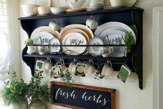 Breakfast nook shelf with ironstone farmhouse fresh herbs sign