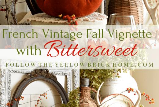 French Vintage Fall Vignette Bittersweet Vine Fall Decorating Fall Vignette with Bittersweet Decorating with Bittersweet for fall