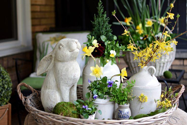 Spring Decorating with vintage crocks pansies in vintage crocks Spring Styled tray with pansies