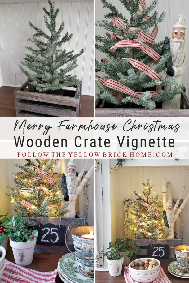 wooden crate Christmas vignette Farmhouse Christmas crate Farmhouse Christmas crate with mini tree, mini-lights and Belsnickle Santa