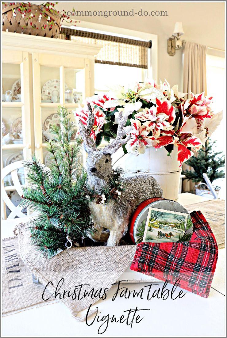 vintage Christmas vignette farm table farmhouse Christmas