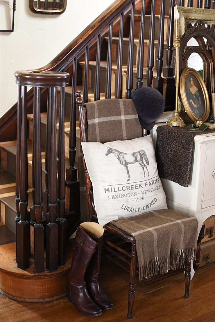 Traditional Southern Style Decor Lexington, Kentucky Pillow Neutral Plaid throw neutral cottage entryway