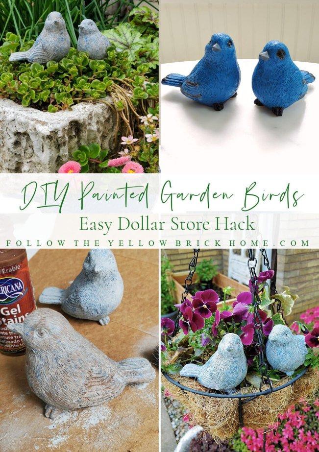 DIY Painted Garden Birds Dollar Store Hack Mother's Day Gift idea