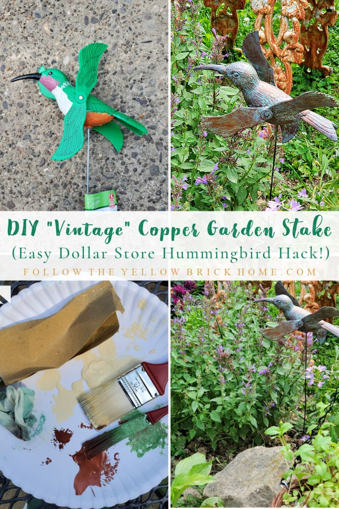 DIY Vintage Copper Patina Dollar Store Garden Stake Makeover