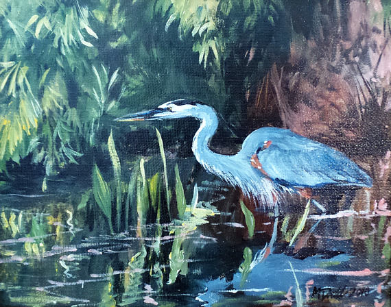 Wading heron art print