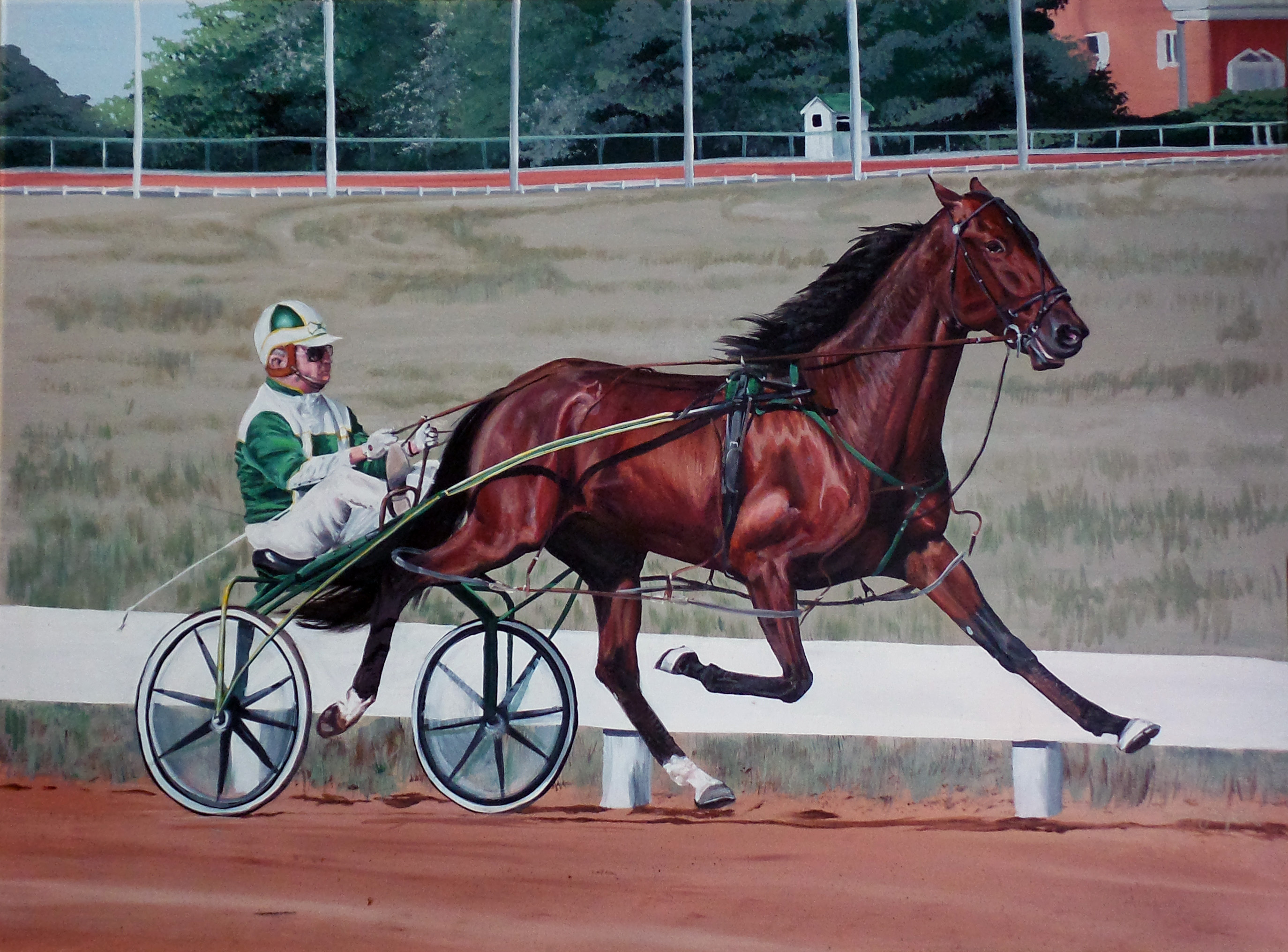 harness racing painting