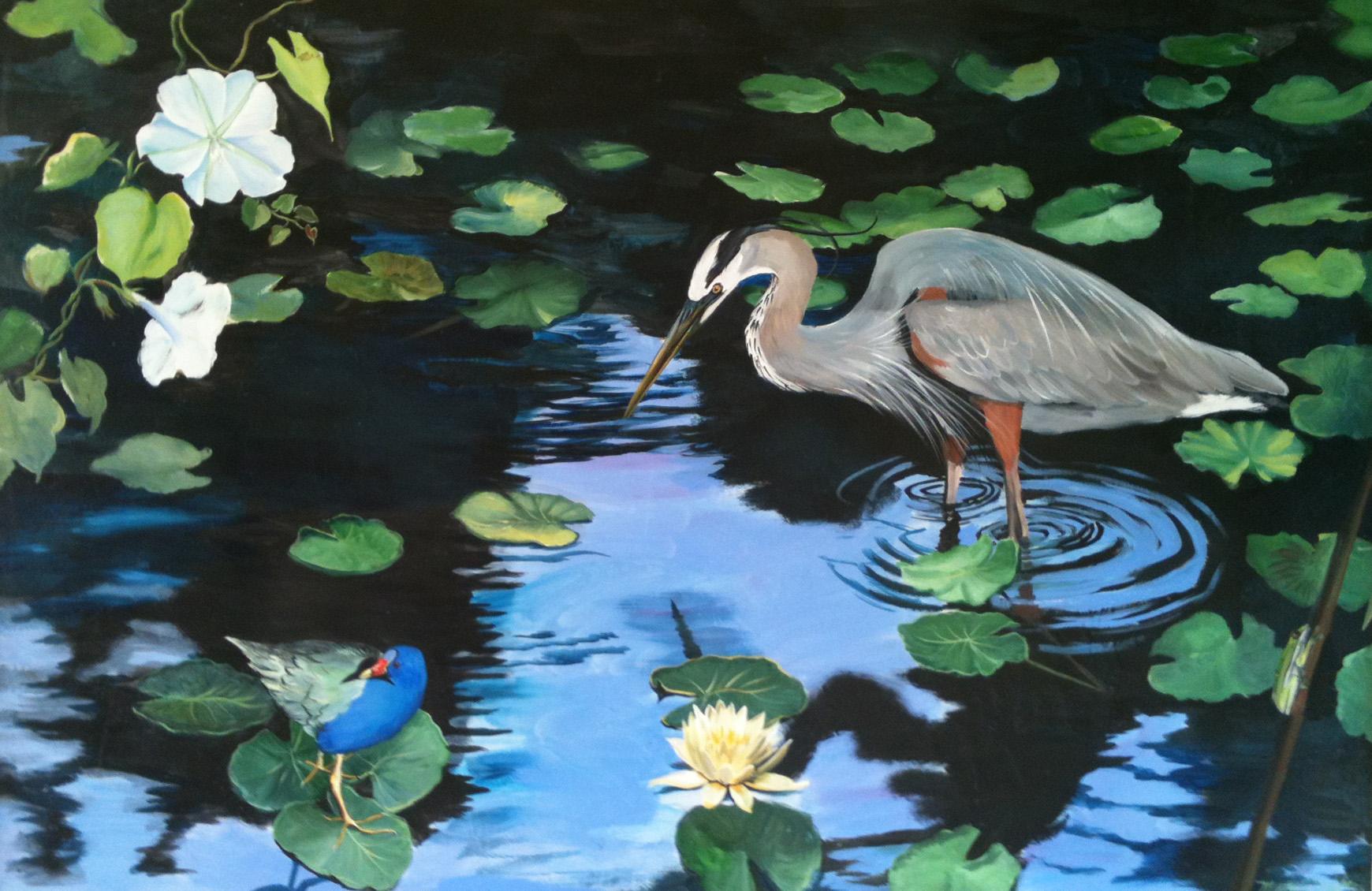 heron in pond wall art