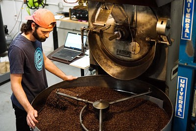 Jeff Roasting Coffee