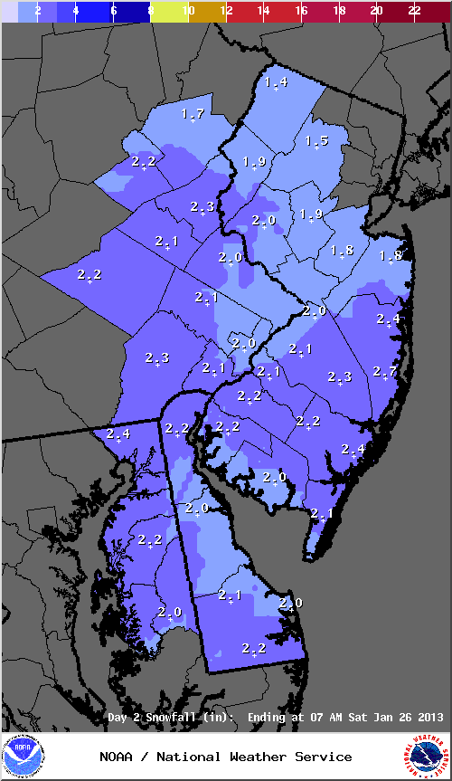 Mt. Holly, NJ NWS snowfall map for Friday, 01/25/13.