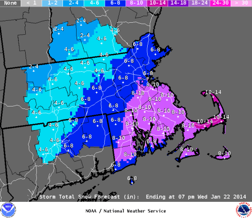 Taunton NWS snowfall forecast for 1/21/14.