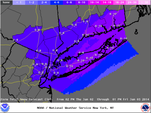 Islip, NY NWS snowfall forecast valid for 1/2/14-1/3/14