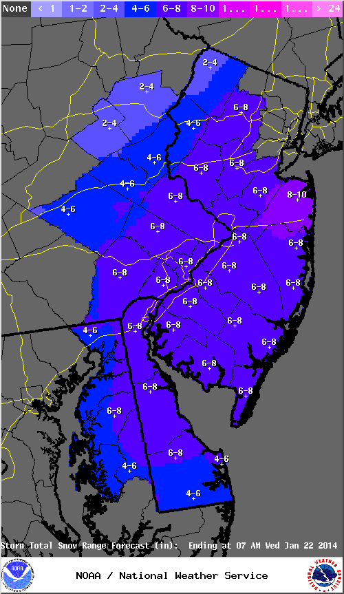 Mt. Holly NWS snowfall forecast for 1/21/14.