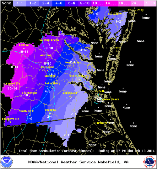 Wakefield NWS snowfall forecast as of 2/11/14.