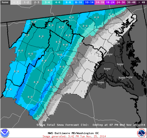 Snowfall Forecast from the Sterling, VA NWS weather forecast office valid 11/25/14.