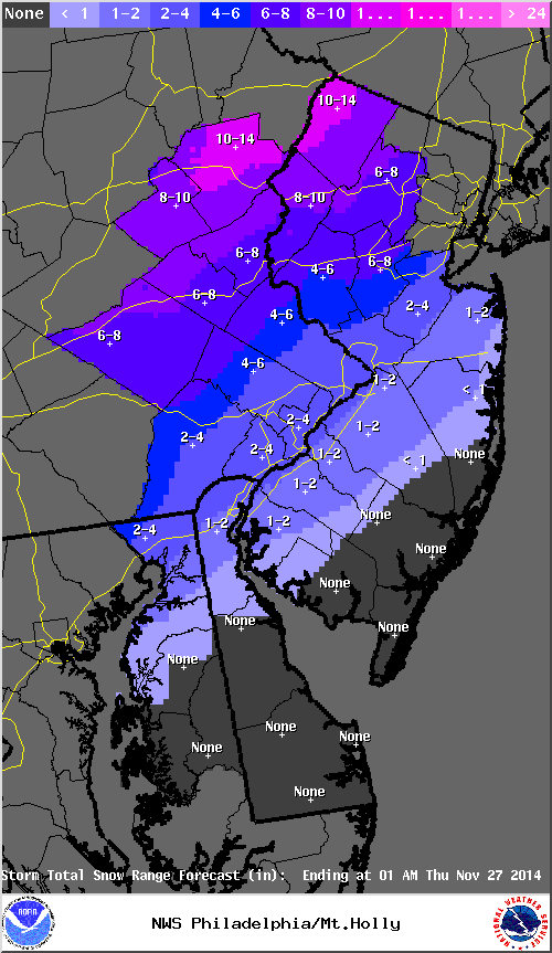 Snowfall Forecast from the Mt. Holly, NJ NWS weather forecast office valid on 11/25/14.