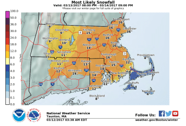 The Taunton, MA NWS WFO Snowfall Map