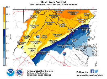 Sterling, VA NWS WFO Snowfall Map