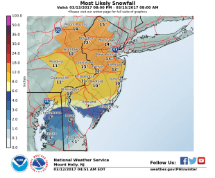 The Mt. Holly, NJ NWS WFO Snowfall Map
