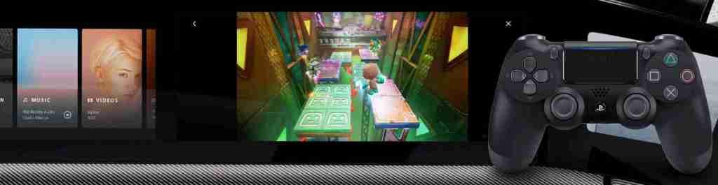 sony vehículo pantalla panoramica videojuegos