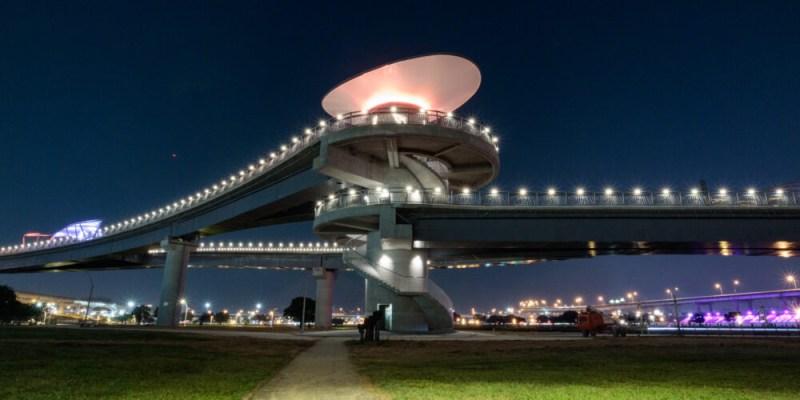  新北。三重 新北大都會公園「辰光橋」-超美夜景星座光雕景觀橋!