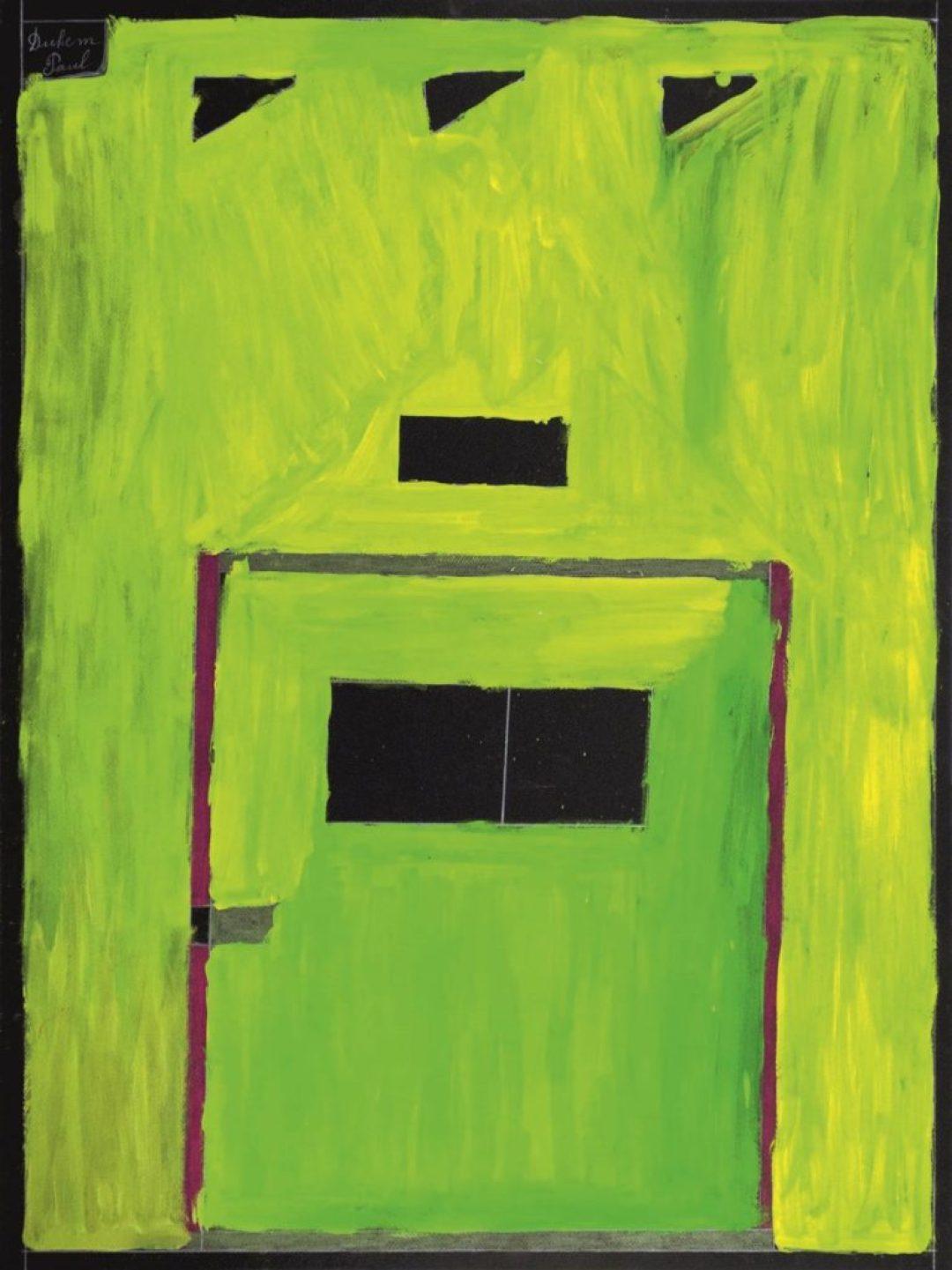 Paul Duhem, sans titre, 1997, crayon blanc, pastel gras et peinture à l'huile sur papier, 65 x 50 cm