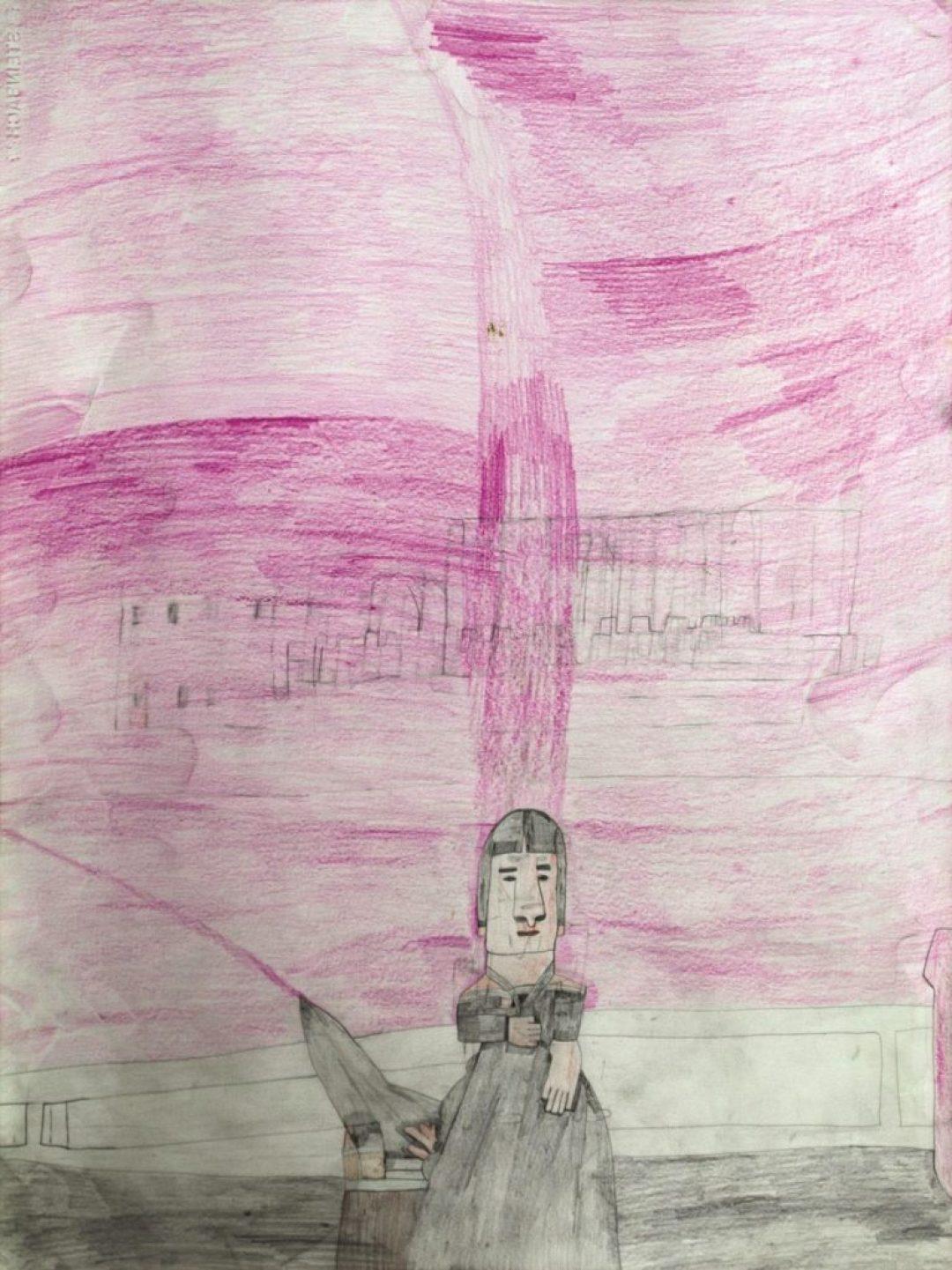 Alexis Lippstreu, Sans titre, nd, crayons de couleurs sur papier, 73 x 55 cm
