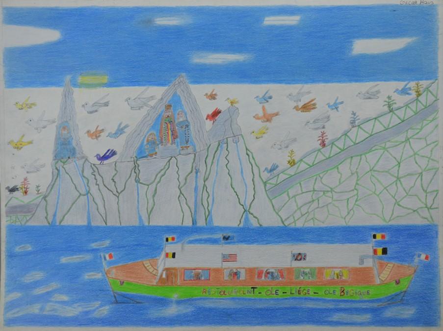 Oscar Haus, sans titre, nd (ca 2000), crayons de couleur sur papier, 55 x 73 cm