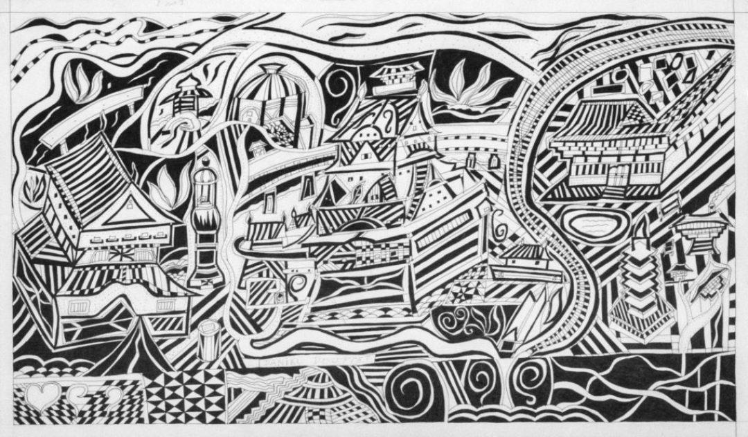 Daniel Douffet, sans titre, 2013, marqueur noir sur carton, 31 x 53 cm