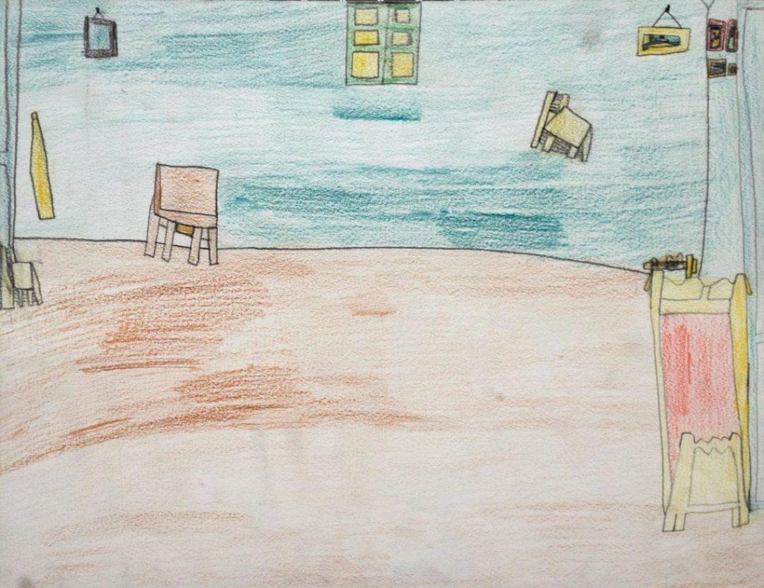 Alexis Lippstreu, Sans titre, 1993-1995, crayons de couleurs sur papier, 30 x 40 cm